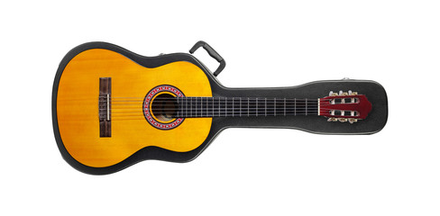 Musical instrument - Acoustic classic guitar from above on a hard case