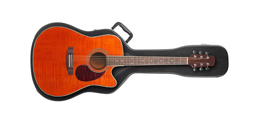 Musical instrument - Orange guitar from above on a hard case