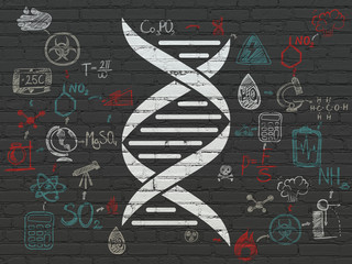 Science concept: Painted white DNA icon on Black Brick wall background with Scheme Of Hand Drawn Science Icons