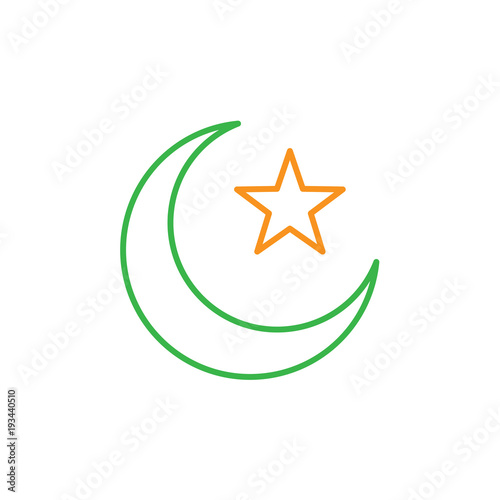 Islam symbol  Crescent moon and star  Simple monoline icon