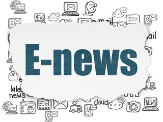 News concept: Painted blue text E-news on Torn Paper background with  Hand Drawn News Icons