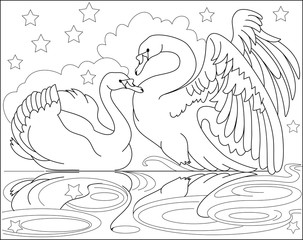 Black and white page for coloring. Drawing of couple beautiful swans. Worksheet for children and adults. Vector image.