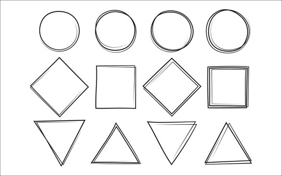 Set of the hand drawn scribble circle and square and triangle