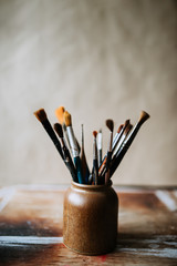 Image of  the artist's paint brushes.