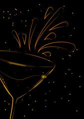 Wine glass with splash design, party background