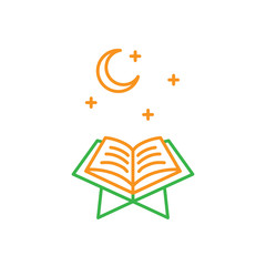 Read Quran at night time. Simple monoline icon style for muslim ramadan and eid al fitr celebration.