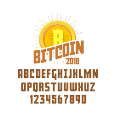 Bitcoin concept and font. Digital money. Blockchain, finance symbol. Cryptocurrency logo sign.