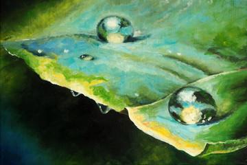 Original oil painting on canvas - Raindrops on the leaf - Modern art