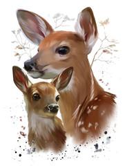 Wild life: Sika deer watercolor painting