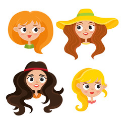 Vector set of cartoon woman hippies isolated on white.