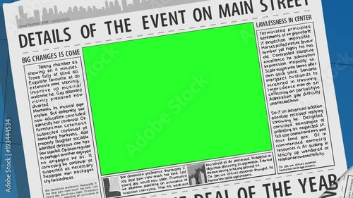 Newspaper Page Concept With Green Screen