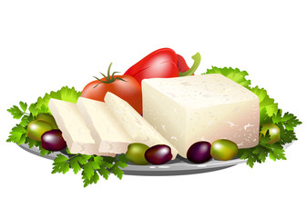 Feta cheese or brynza with fresh vegetables. Hand drawn vector illustration isolated on white background.