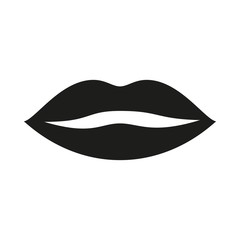 lips icon. Flat vector illustration in black.
