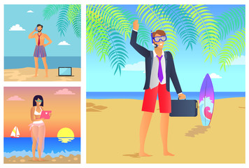 Three Summer Time Posters Vector Illustration