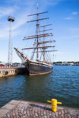 Vintage ship stands moored in Helsinki port