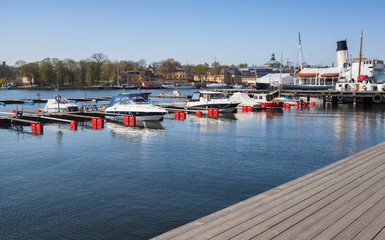 Pleasure motor boats moored in Stockholm