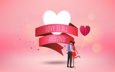 Red heart flower on pink background with  sweet couple on honeymoon vacation summer holidays romance. Love concept. Happy Valentine's Day wallpaper, poster, card. Vector illustration