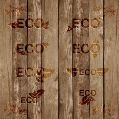 Eco signs bevels on wood, vector.