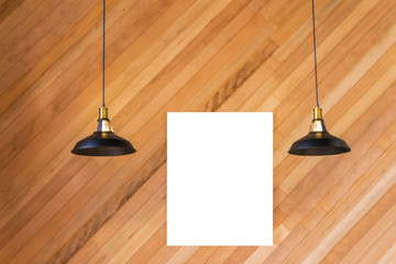 blank photo frame and blurry background with hanging lamp with wooden wall