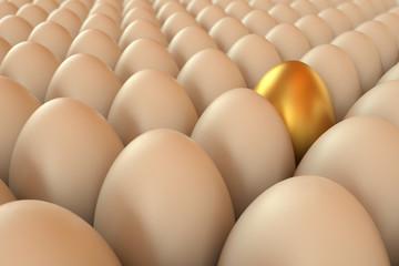 Lots of rendered eggs an one golden. Easter eggs. 3D rendering illustration.