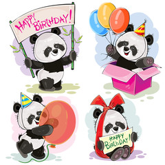 Set of cute baby panda bears with happy birthday banner, with bow and greeting card, with surprise in gift box and balloons vector cartoon illustration. Clipart for party invitations, t-shirt prints