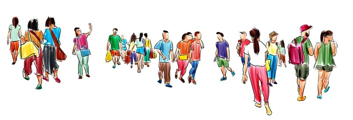 group of people walking free hand sketch panorama view isolated on white background