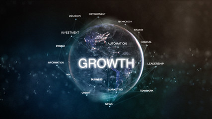 Technology earth from space word set with growth in focus. Futuristic financial oriented words cloud 3D illustration. Success keywords concept