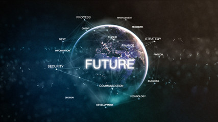 Technology earth from space word set with future in focus. Futuristic financial oriented words cloud 3D illustration. Success keywords concept