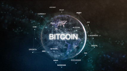 Technology earth from space word set with bitcoin in focus. Futuristic bitcoin cryptocurrency oriented words cloud 3D illustration. Crypto e-business keywords concept