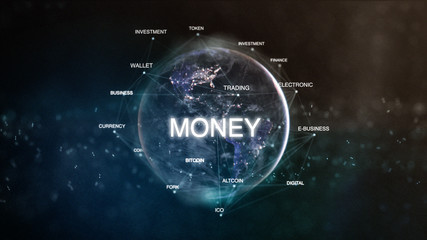 Technology earth from space word set with money in focus. Futuristic bitcoin cryptocurrency oriented words cloud 3D illustration. Crypto e-business keywords concept