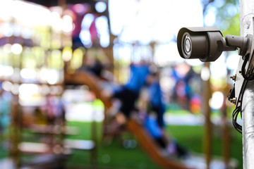 Outdoor CCTV monitoring, security cameras at a playground kid zone at the public park