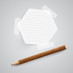 A piece of paper with a pencil, vector.