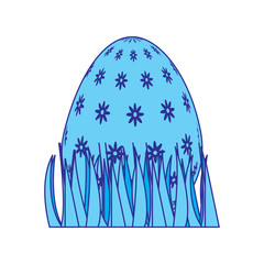 sweet cute decorative easter egg on grass vector illustration blue image