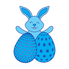 happy cute rabbit with two easter eggs decoration vector illustration blue image