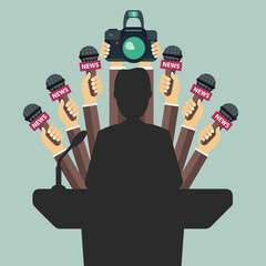 Set of microphones and camera in front of businessman giving  a speech. Mass media, television, interview, breaking news, press conference concept. Flat vector illustration.