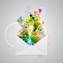 An envelope with a colorful abstract illustration, vector.