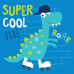 cool roller skater dinosaur dino animal character vector illustration