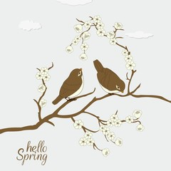 Floral card with cute burds and Hello Spring text
