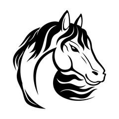 Black horse sign on white background.