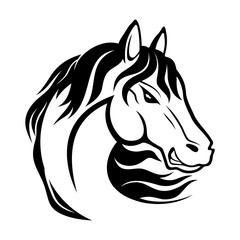 Black horse sign on white background.
