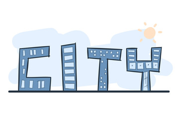 Cartoon hand drawing building as alphabet CITY with color. Vector on white background.