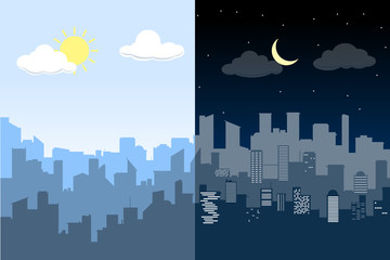 Random blue city skyline Vector. Difference between Day and Night.