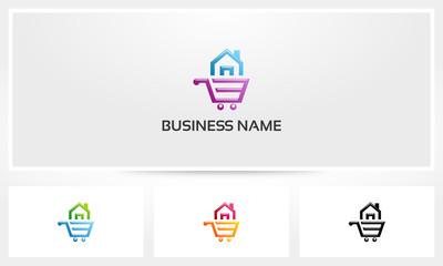 House Shopping Cart Buy Sell Logo