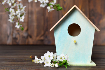 Hello Spring, Birdhouse and spring flowers