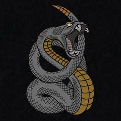 Viper snake. Colorful vector illustration in ink technique on black grunge background, good for poster, sticker, tee shirt design.