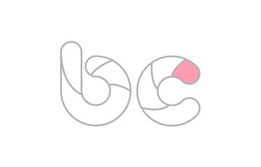 grey pink alphabet letter bc b c company logo design