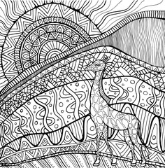 Ornamental giraffe and sun and African landscape, coloring page