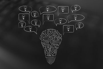 speech bubbles popping out of a light bulb made of microchips