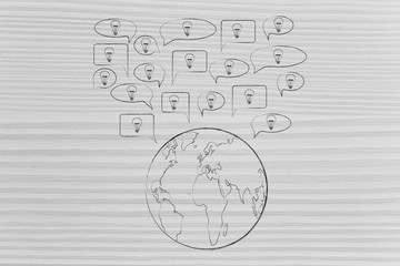 speech bubbles with light bulbs popping out of planet Earth
