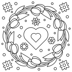 Floral wreath. Coloring page. Vector illustration.